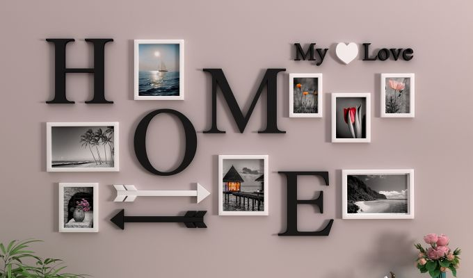 Home Arrow Photo Collage (Black Finish)-1