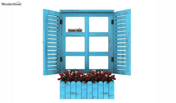 Lapis Wooden Window Frame (Blue Distress) (Blue Distress Finish)-3