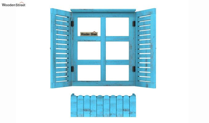 Lapis Wooden Window Frame (Blue Distress) (Blue Distress Finish)-4