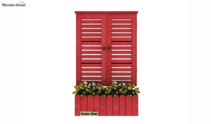 Lapis Wooden Window Frame (Red Distress) (Red Finish)-2