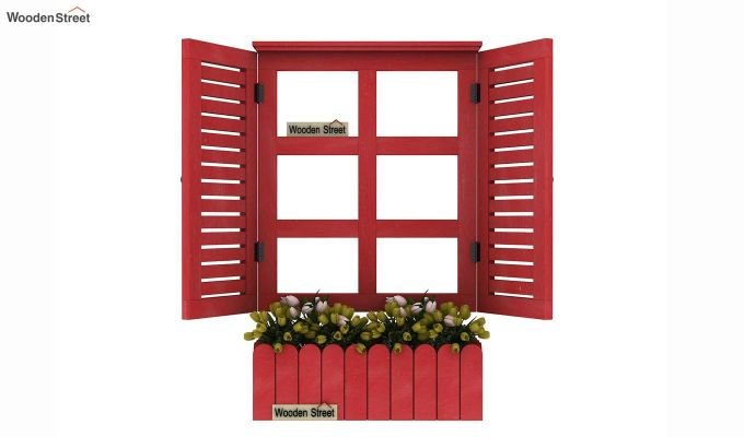 Lapis Wooden Window Frame (Red Distress) (Red Finish)-3