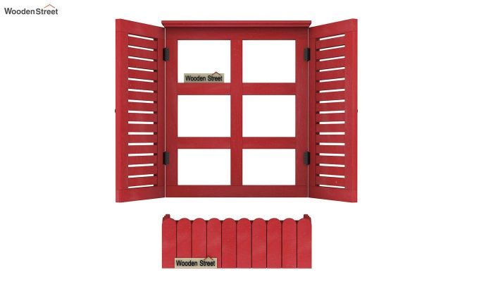 Lapis Wooden Window Frame (Red Distress) (Red Finish)-4