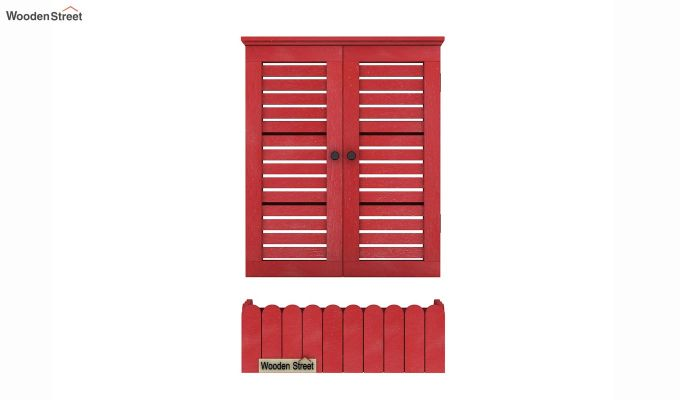 Lapis Wooden Window Frame (Red Distress) (Red Finish)-5
