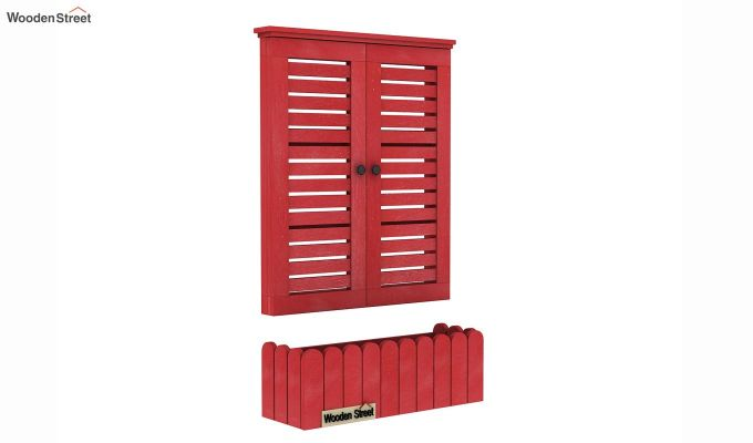 Lapis Wooden Window Frame (Red Distress) (Red Finish)-6