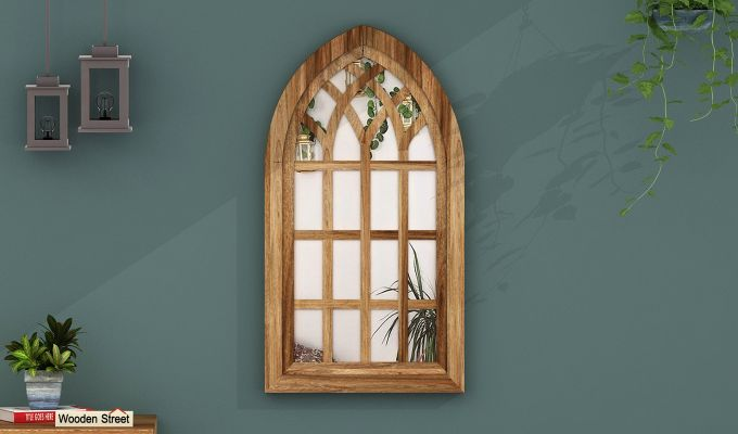 Libro Wooden Window Frame With Mirror (Mango Finish) (Natural Finish)-1