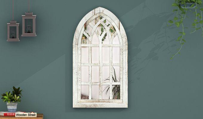 Libro Wooden Window Frame With Mirror (White Finish) (White Finish)-1