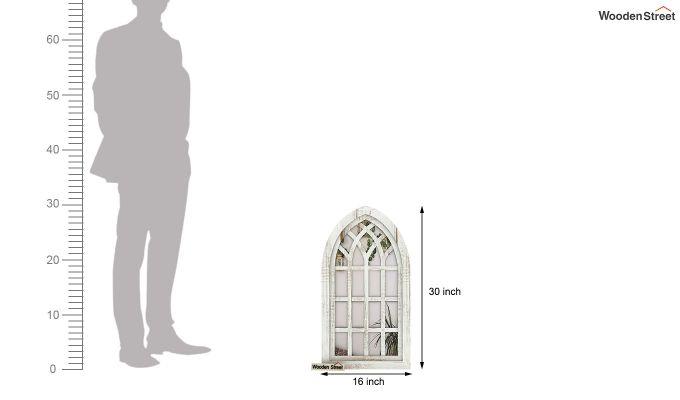 Libro Wooden Window Frame With Mirror (White Finish) (White Finish)-4
