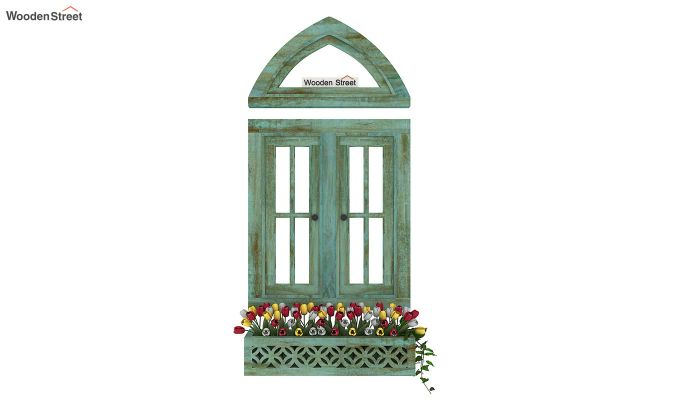 Libros Wooden Window Frame (Distress Pista Green) (Distress Green)-3