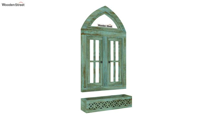 Libros Wooden Window Frame (Distress Pista Green) (Distress Green)-4