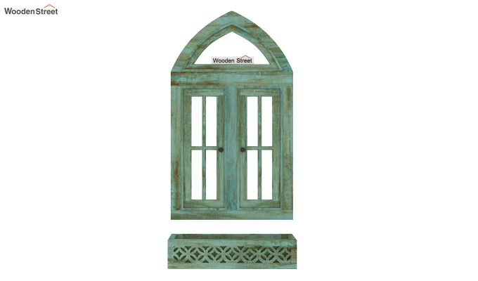 Libros Wooden Window Frame (Distress Pista Green) (Distress Green)-5