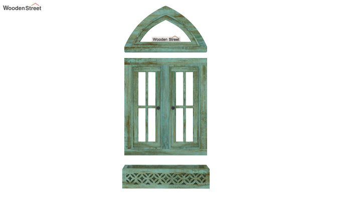 Libros Wooden Window Frame (Distress Pista Green) (Distress Green)-6