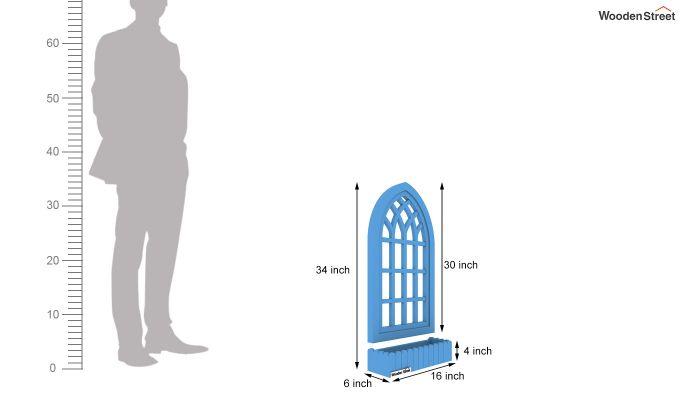 Minar Wooden Window Frame (Blue Distress) (Blue Distress Finish)-5