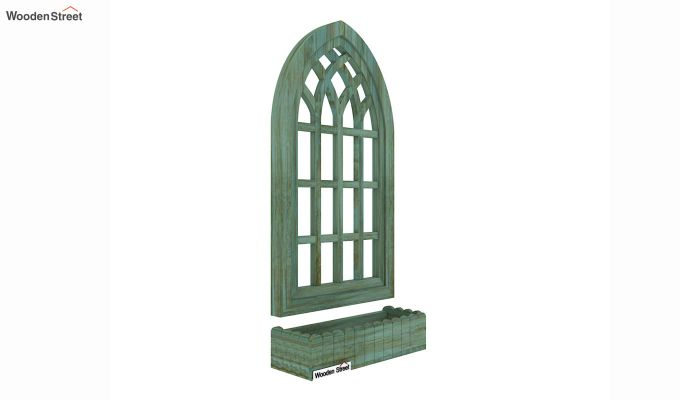 Minar Wooden Window Frame (Pista Green Distress) (Distress Green)-2