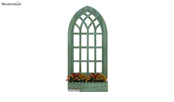 Minar Wooden Window Frame (Pista Green Distress) (Distress Green)-3