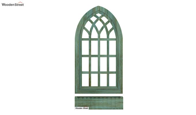 Minar Wooden Window Frame (Pista Green Distress) (Distress Green)-4