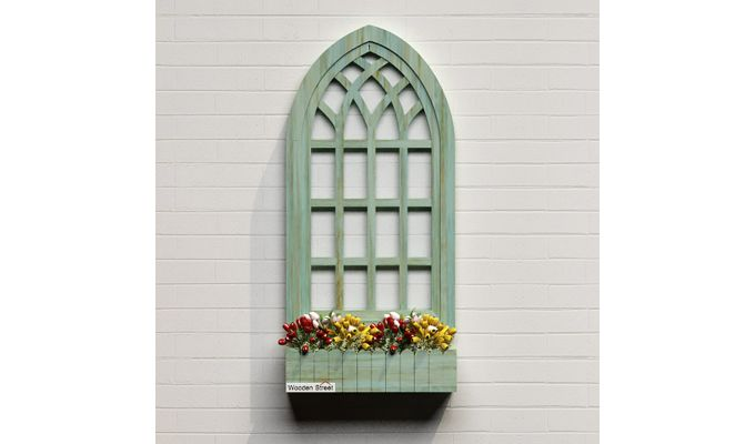 Minar Wooden Window Frame (Pista Green Distress) (Distress Green)-6
