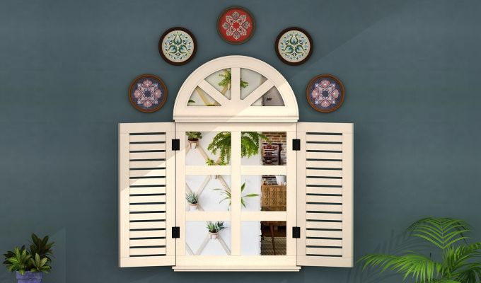Pinot Wooden Window Frame With Mirror (White Distress) (White Finish)-1