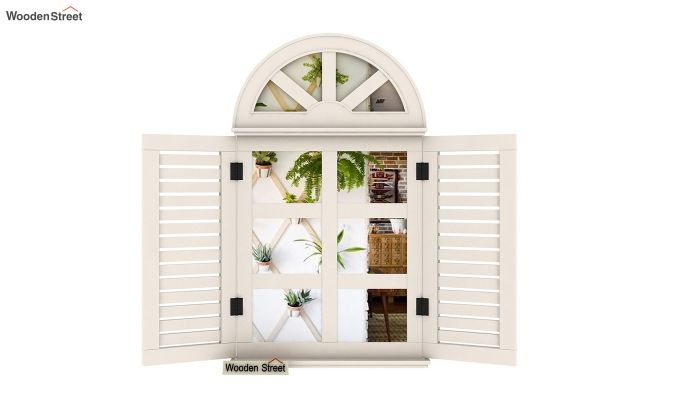Pinot Wooden Window Frame With Mirror (White Distress) (White Finish)-4