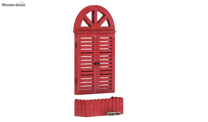 Pinot Wooden Window Frame (Distress Red) (Red Finish)-2