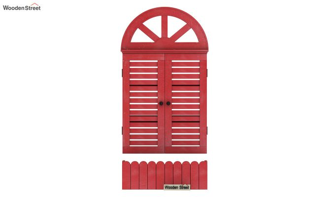 Pinot Wooden Window Frame (Distress Red) (Red Finish)-3