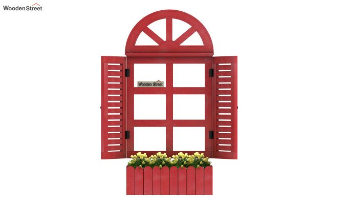 Pinot Wooden Window Frame (Distress Red) (Red Finish)-4