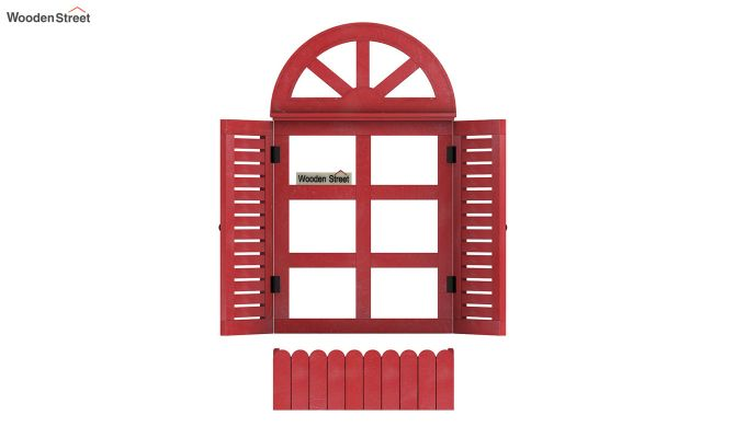 Pinot Wooden Window Frame (Distress Red) (Red Finish)-5
