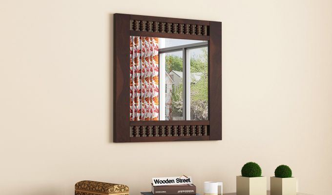 Alanis Mirror With Frame (Walnut Finish)-1