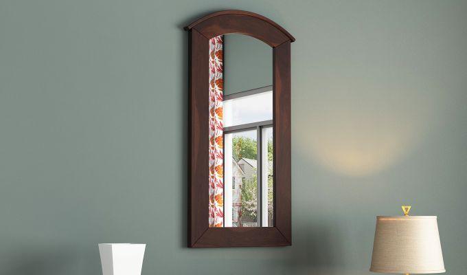 Arc Mirror with Frame (Walnut Finish)-1