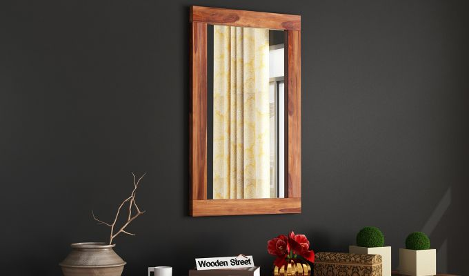 Bacon Mirror With Frame (Teak Finish)-1