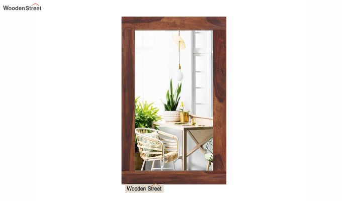 Bacon Mirror With Frame (Teak Finish)-3