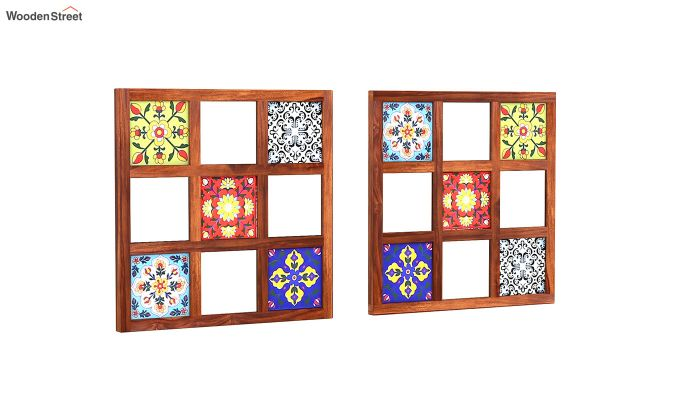 Bohemian Set of 2 Mirror with Frame (Honey Finish)-2