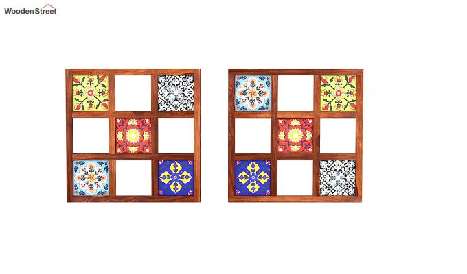 Bohemian Set of 2 Mirror with Frame (Honey Finish)-3