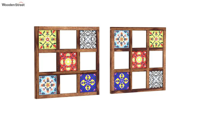Bohemian Set of 2 Mirror with Frame (Teak Finish)-2