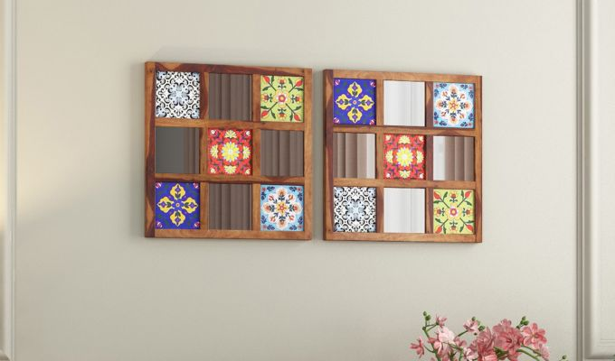 Bohemian Set of 2 Mirror with Frame (Teak Finish)-1
