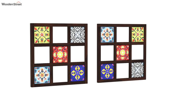 Bohemian Set of 2 Mirror with Frame (Walnut Finish)-2