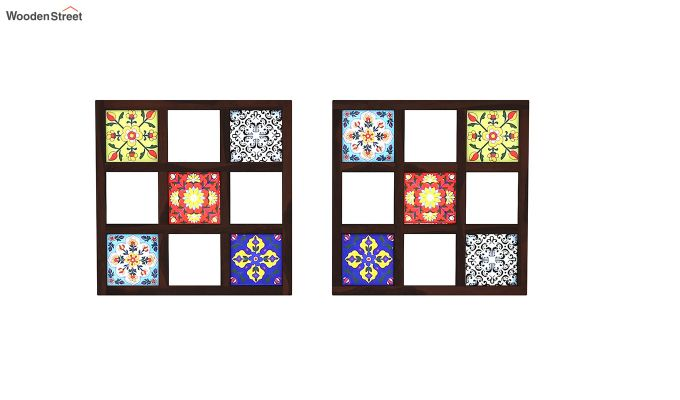 Bohemian Set of 2 Mirror with Frame (Walnut Finish)-3