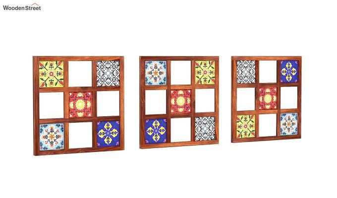 Bohemian Set of 3 Mirror with Frame (Honey Finish)-3