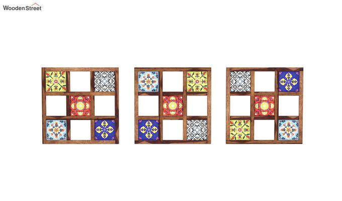 Bohemian Set of 3 Mirror with Frame (Teak Finish)-2