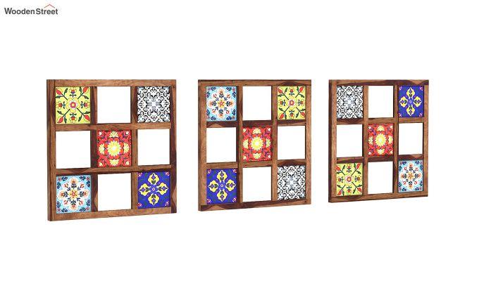 Bohemian Set of 3 Mirror with Frame (Teak Finish)-3