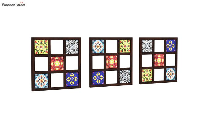 Bohemian Set of 3 Mirror with Frame (Walnut Finish)-3