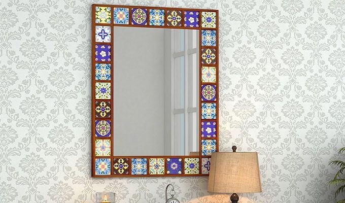 Boho Mirror With Frame (Honey Finish)-1