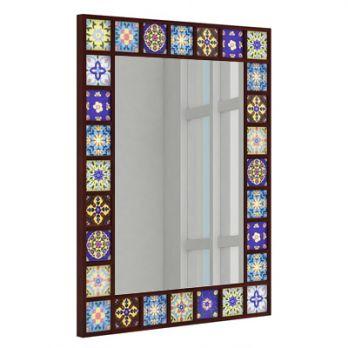 Boho Mirror With Frame (Mahogany Finish)