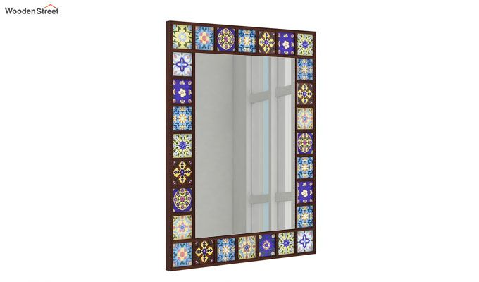 Boho Mirror With Frame (Walnut Finish)-1