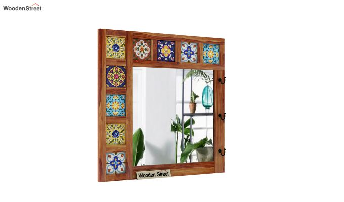 Boho Mirror With Hook (Teak Finish)-2