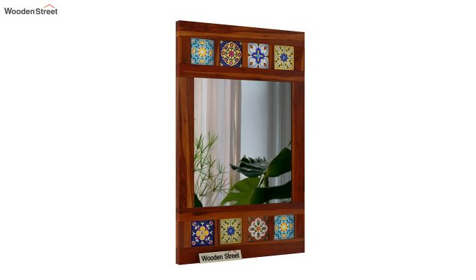 Boho Side Stripped Mirror With Frame (Honey Finish)-2
