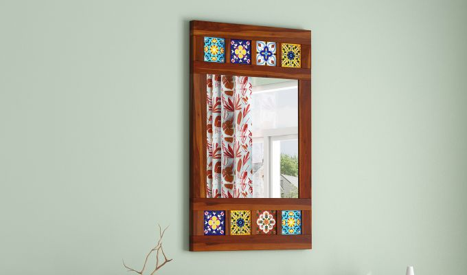 Boho Side Stripped Mirror With Frame (Honey Finish)-1