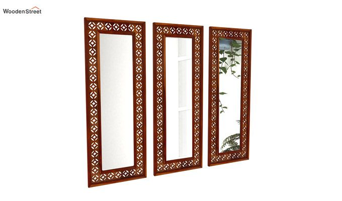 Cambrey Set Of 3 Mirror With Frame (Honey Finish)-2