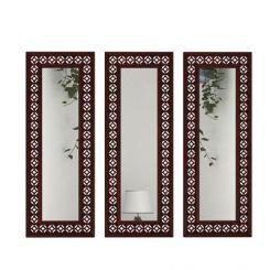 Cambrey Set Of 3 Mirror With Frame (Mahogany Finish)