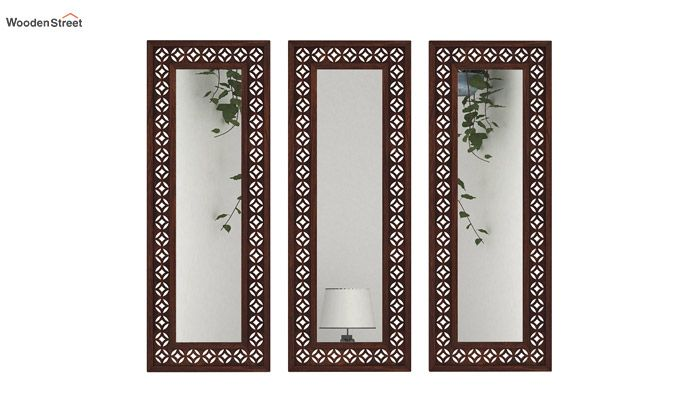 Cambrey Set Of 3 Mirror With Frame (Walnut Finish)-2