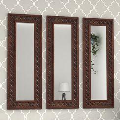 Cambrey Set Of 3 Mirror With Frame (Walnut Finish)